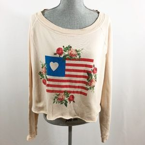 Wildfox Crop Sweater American Rose Pink S (K66)